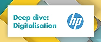 A white box is surrounded by a blue and yellow graphic border. In the center of the white box it says 'Deep dive: Digitalisation' with the HP logo below it.